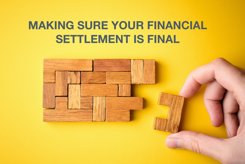 A hand putting in the last piece to a wooden jigsaw on a yellow background with the text displayed 'Making sure your financial settlement is final'
