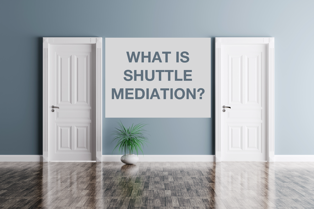Two doors indicating adjacent but separate rooms with a green spiky grass plant in a white pot on a polished floor outside the doors and text displaying 'What is shuttle mediation?'