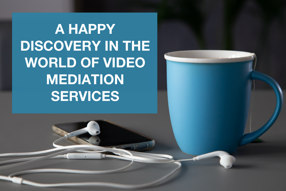 A blue cup with a teabag in on a grey surface with a smart phone and white earphones and text displaying 'A happy discovery in the world of video mediation services'